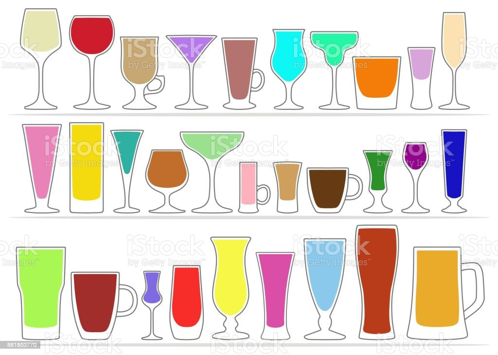 Collection icons of glasses with colored drinks. Vector illustration vector art illustration