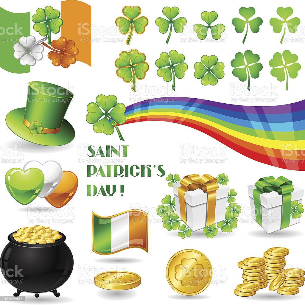 Collection illustrations of Saint Patrick's Day symbols. royalty-free stock vector art