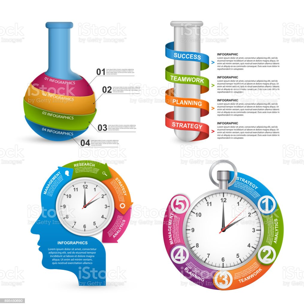 Collection Infographics template. Infographics for business presentations or information banner. vector art illustration