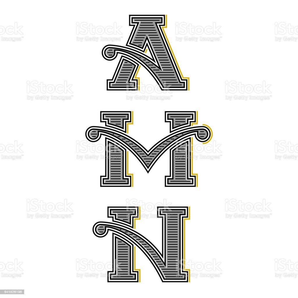 Mahnschreiben A M N Vintage Monogramme Set Kalligraphische