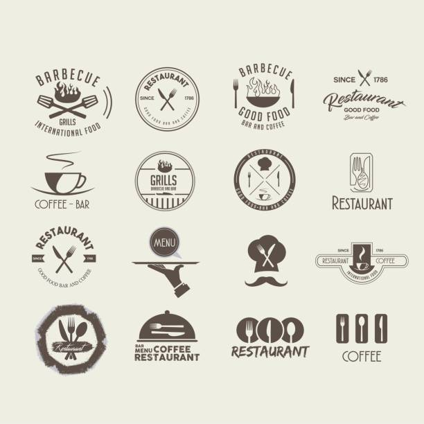 collection logos restaurant - restaurant logos stock illustrations, clip art, cartoons, & icons