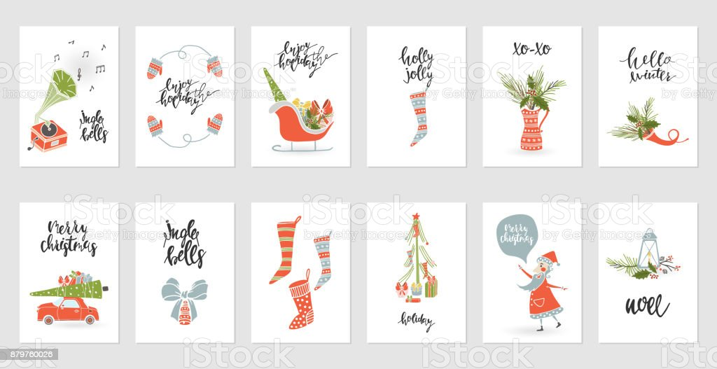 Collection Merry Christmas gift cards vector art illustration