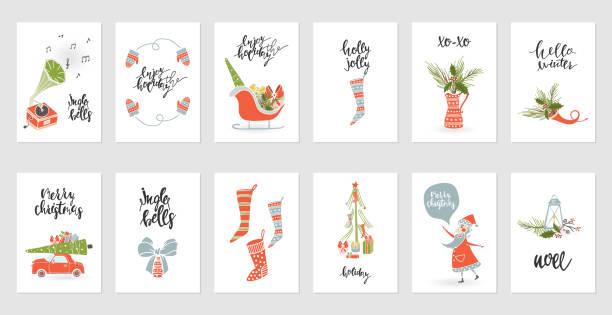 sammlung-frohe weihnachten-geschenk-karten - ferien und feiertage stock-grafiken, -clipart, -cartoons und -symbole