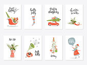 Collection of 8 Merry Christmas and Happy New Year gift cards. Set of hand drawn holiday template for New 2018 Year Cards and Merry Christmas posters