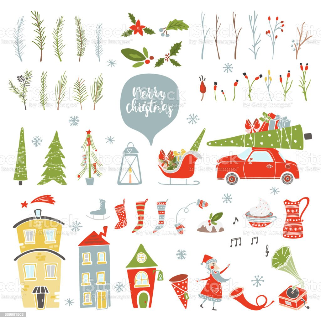 Collection Merry Christmas vector art illustration