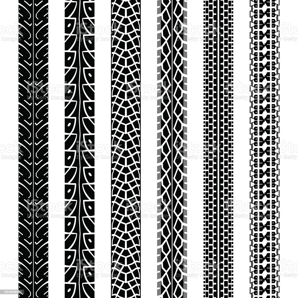 Collection Motorcycle Tire Tracks Seamless Texture Stock Vector Art & More Images of 2015 ...