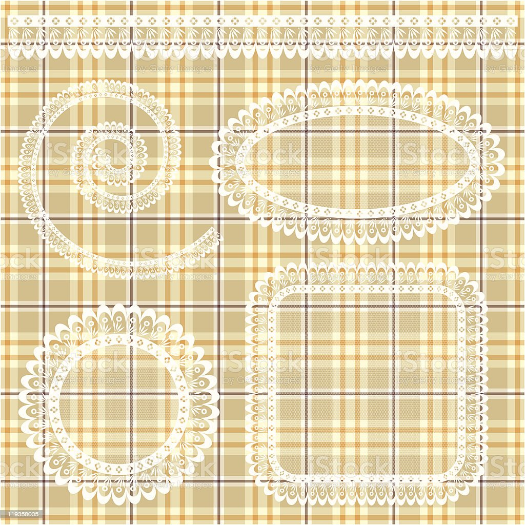 Collection napkins with lace for cafe royalty-free stock vector art