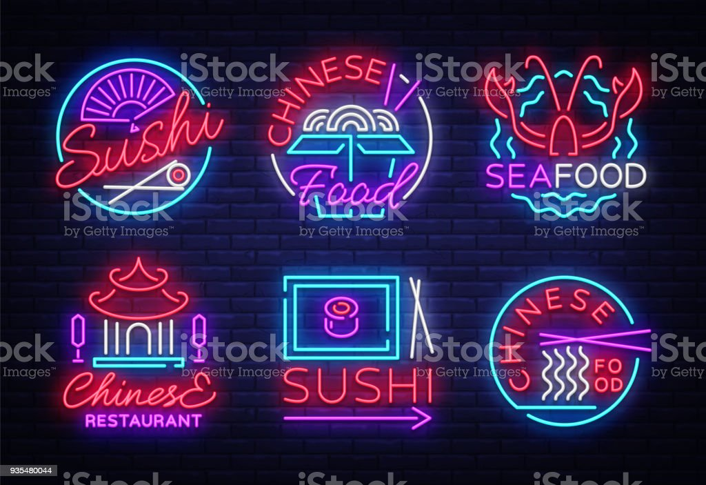 Collection Neon Signs Food Set S In Neon Style Sushi Seafood Lobster  Chinese Food Light Emblem Night Neon Advertising For Restaurant Snack Bar  Cafe