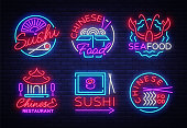 Collection neon signs Food. Set s in neon style Sushi, Seafood, Lobster, Chinese food, light emblem, night neon advertising for restaurant, snack bar, cafe, bar, dining room. Vector illustration.