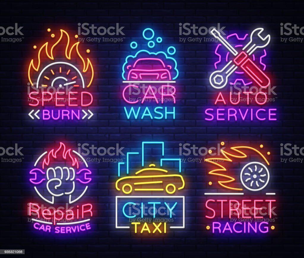 Collection Neon Signs Transport Neon Emblems Taxi Service Car Wash