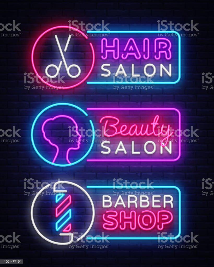 Collection neon signs vector. Hairdress, Barber Shop, Beauty salon Logotype, Emblem in Modern Trend Design, Vector Template, Light Banner, Night Bright Promotion, Design Element. Vector Illustration vector art illustration