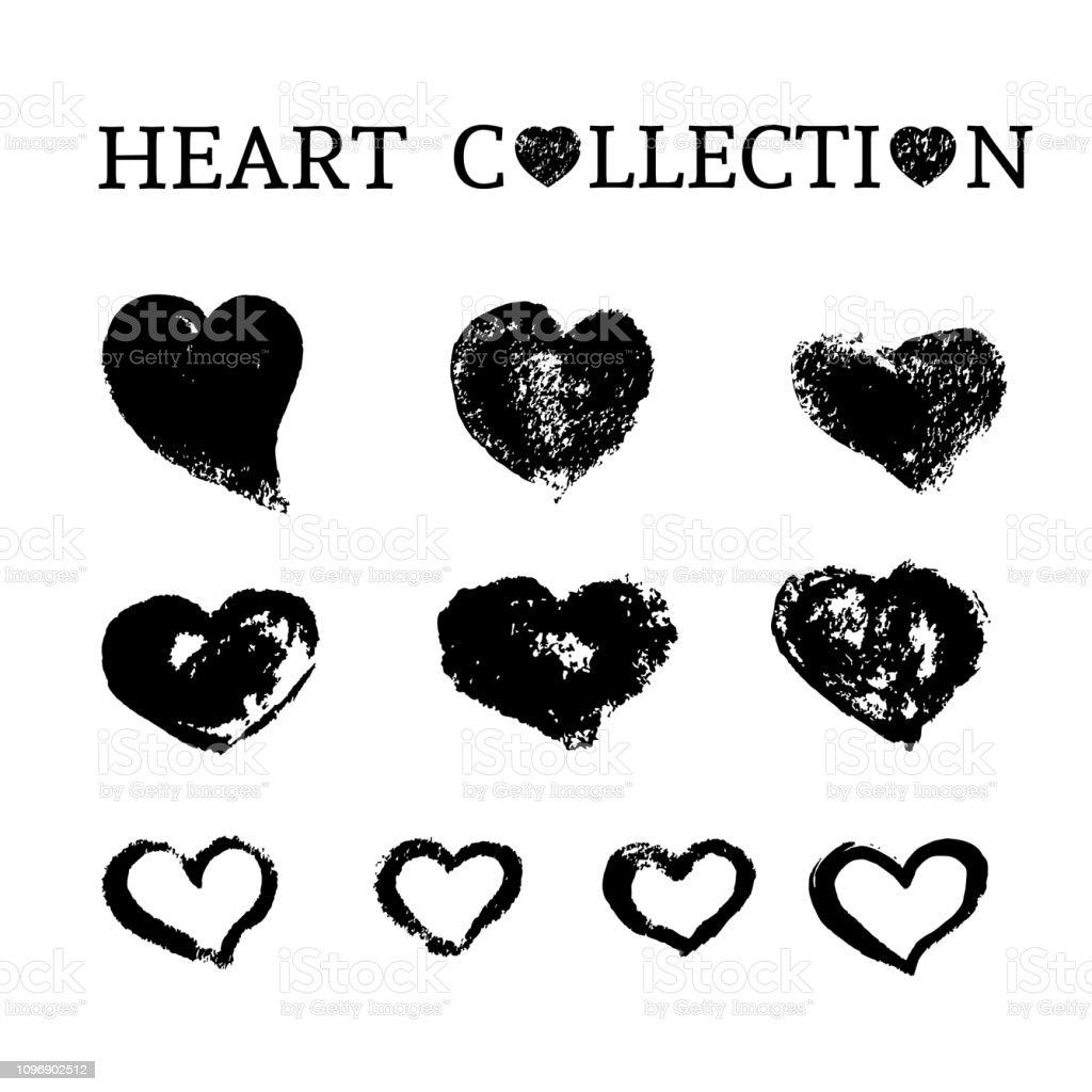 Koleksiyon 10 Elle Cizilmis Kalplerin Uzerine Beyaz Izole Grunge