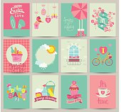 Collection of 12 Spring card templates.