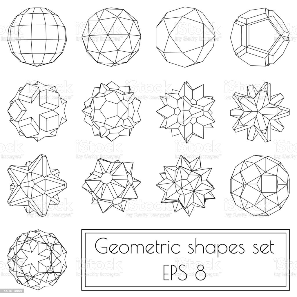 collection of 13 3d geometric shapes stock vector art & more images