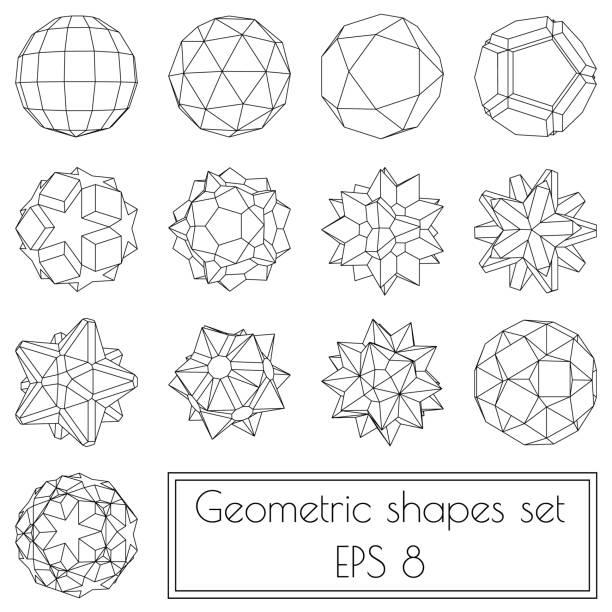 stockillustraties, clipart, cartoons en iconen met collectie van 13 3d geometrische vormen - veelvlakkig