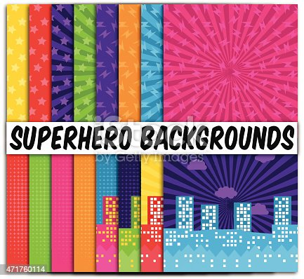 Collection of 16 Vector Superhero Themed Backgrounds. Drop shadow used on each background; no gradients or transparencies are present. Each background is grouped for easy editing.