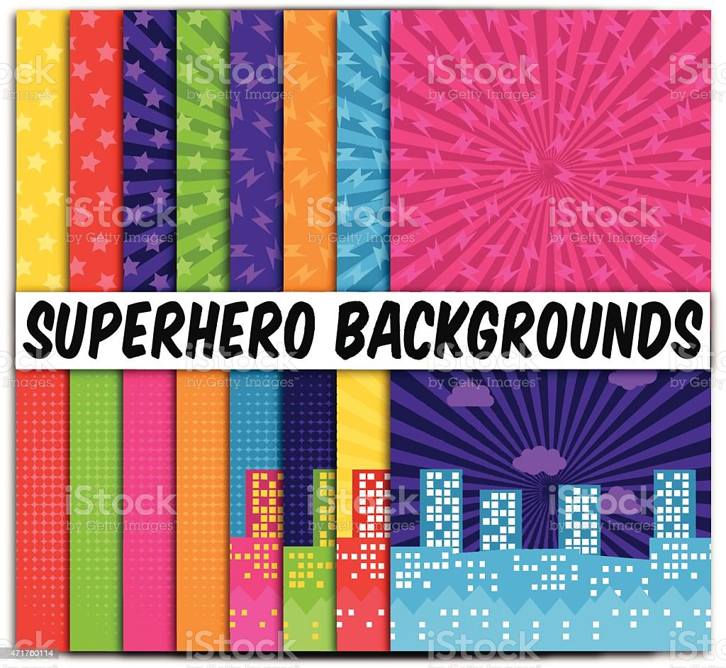 Conjunto de 16 Vector superhéroe fondos temáticos - ilustración de arte vectorial