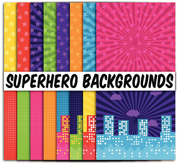 collection of 16 vector superhero themed backgrounds - cartoon kids stock illustrations, clip art, cartoons, & icons