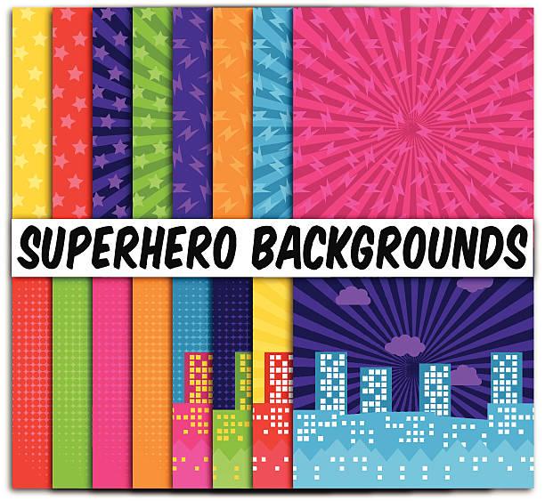 16 ベクトルコレクションテーマの背景のスーパーヒーロー - 漫画の子供たち点のイラスト素材/クリップアート素材/マンガ素材/アイコン素材
