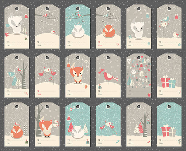Collection of 18 Christmas gift tags with foxes vector art illustration