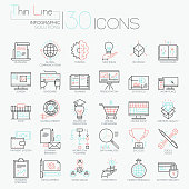 Collection of 30 modern icons in thin line style - global market research, creative thinking, business development, project management, investment. Vector illustration for website, presentation, ad.