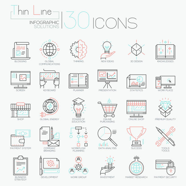 Collection of 30 modern icons in thin line style Collection of 30 modern icons in thin line style - global market research, creative thinking, business development, project management, investment. Vector illustration for website, presentation, ad. bundle stock illustrations