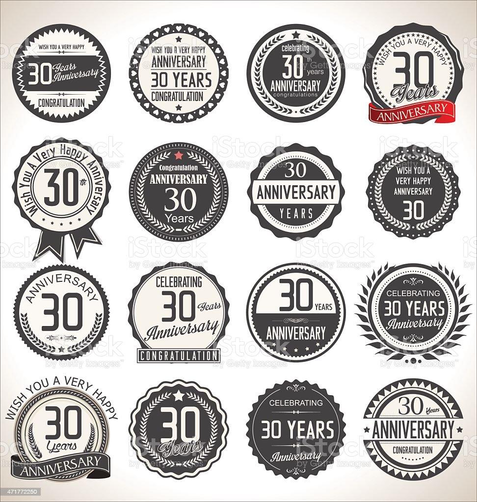 Collection of 30 year anniversary badge illustration vector art illustration