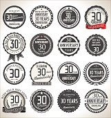 Collection of 30 year anniversary badge illustration