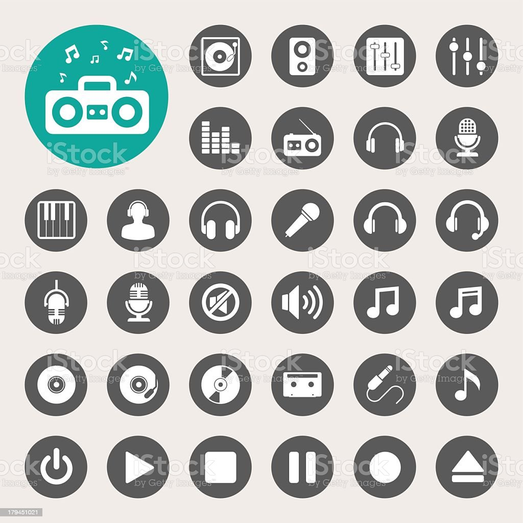Collection of 33 music related icons vector art illustration