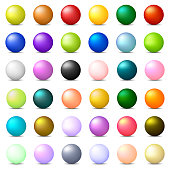 Collection of 36 Colorful Realistic Spheres isolated on white background. Glossy Shiny Balls. 3d Colored Balls and Spheres. Vector Illustration for Your Design, Web.