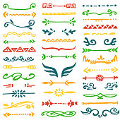 Collection of 39 hand drawn borders. Vector design elements for your cute design.