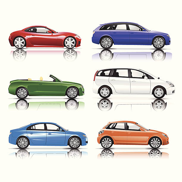 Collection of 3D Cars Vector ***NOTE TO INSPECTOR: These vector are derived from our own 3D generic models. They do not infringe on any copyright design.*** hatchback stock illustrations