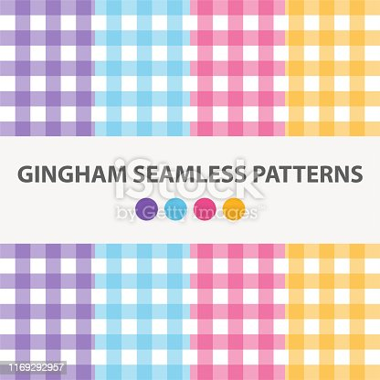 Collection Of 4 Colorful Gingham Seamless Patterns Vector