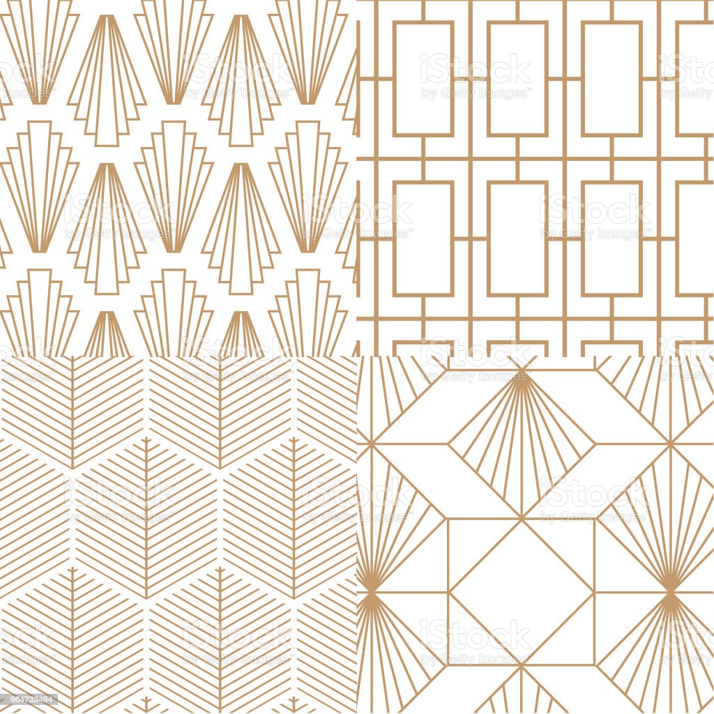 Collection of 4 elegant art deco, retro, patterns. Vector art. royalty-free collection of 4 elegant art deco retro patterns vector art stock illustration - download image now