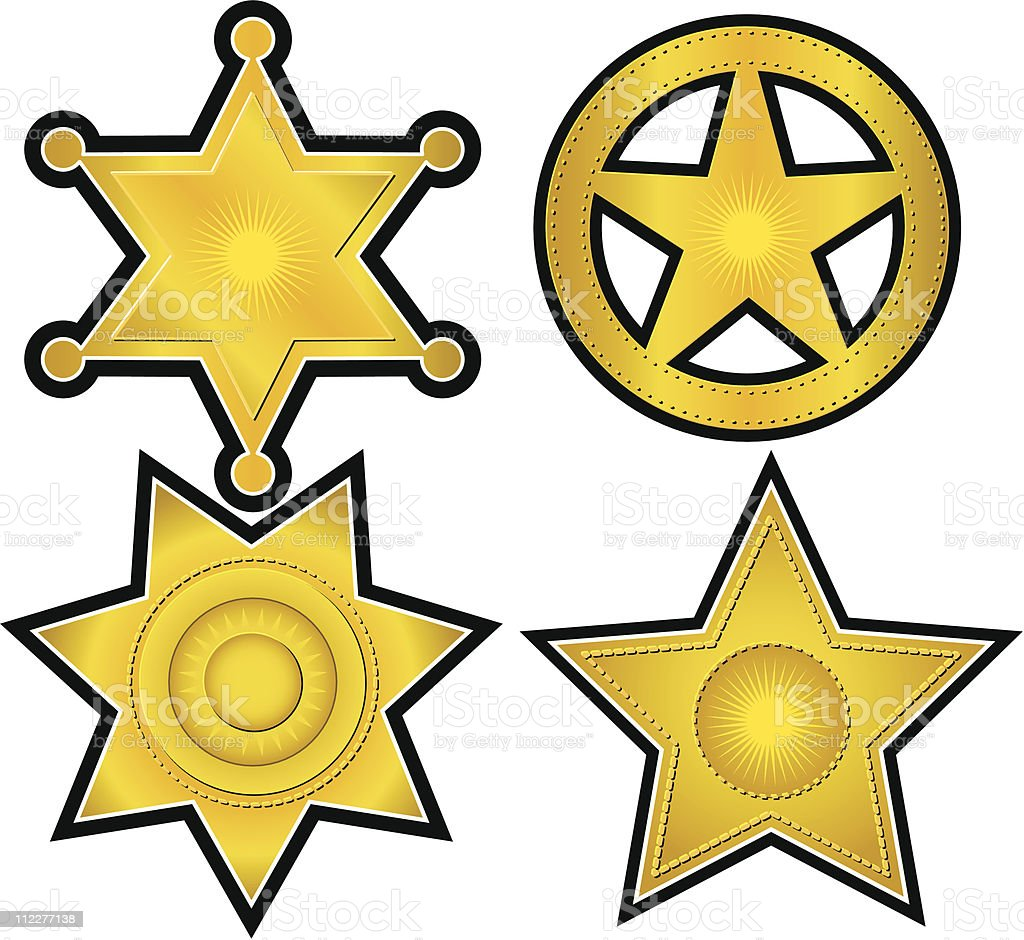 Collection of 4 Gold Badges royalty-free stock vector art