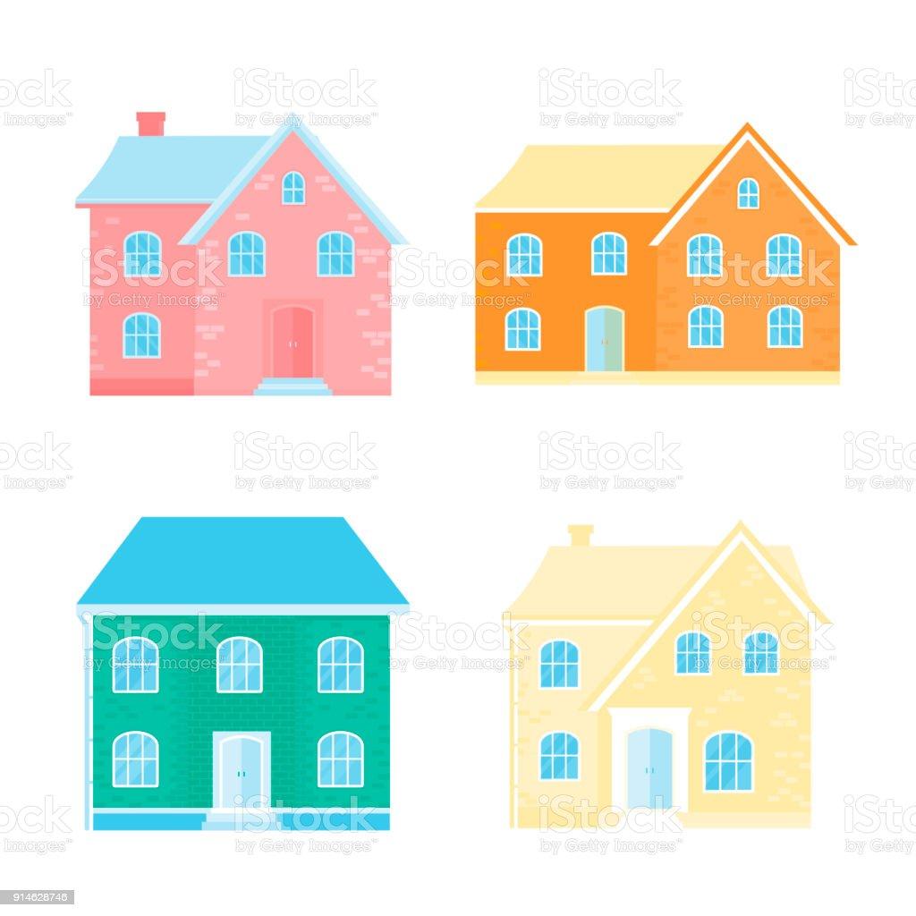 Sammlung Von 4 Icons Mit Gemütliche Wohnung, Haus, Hütte. Moderne Bu  Lizenzfreies Sammlung