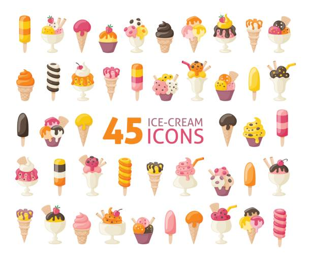 Collection of 45 five yummy ice cream icons isolated on white. Vector illustration. Collection of 45 yummy ice cream icons isolated on white. Vector illustration. ice cream sundae stock illustrations