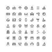 Collection of 49 travel summer hotel outline vector icons.