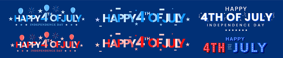 Collection of 4th of July greeting monogram, artistic typography, decorated fonts with usa celebration elements on navy blue background