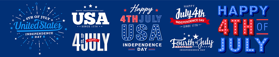 Collection of 4th of July usa independence day greeting monogram, icon, artistic typography, decorated fonts design set.