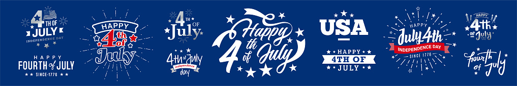Collection of 4th of July usa independence day greeting monogram, icon, artistic typography, decorated fonts design set on navy blue background.