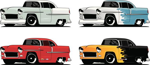 Collection Of 55 Chevys-vektorgrafik och fler bilder på 1955