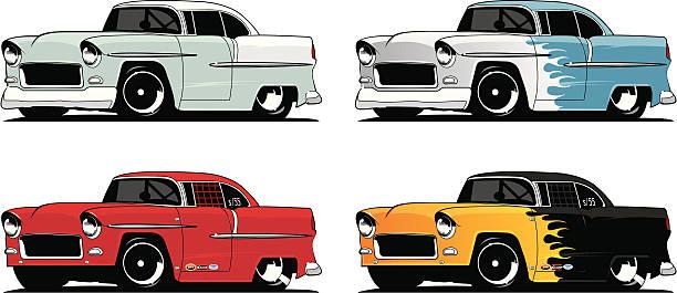 bildbanksillustrationer, clip art samt tecknat material och ikoner med collection of '55 chevys - 50 59 år