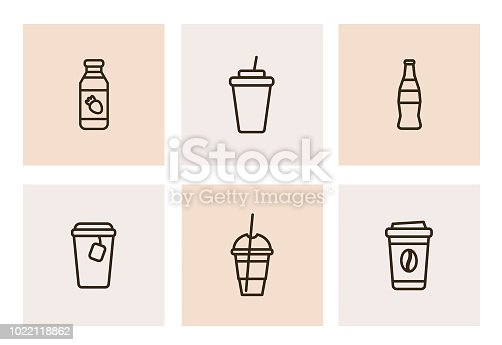 Collection of 6 black line icons of takeaway drinks. Isolated line pictograms in trend flat style for web and print design
