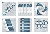 Collection of 6 design blue color presentation templates. Vector Background. For your idea and presentation.