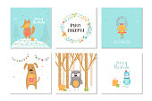 Collection of 6 Merry Christmas cute greeting card with animals, presents and lettering. Hand drawn style of posters for holiday invitation, children room, nursery decor, interior design. Vector illustration.