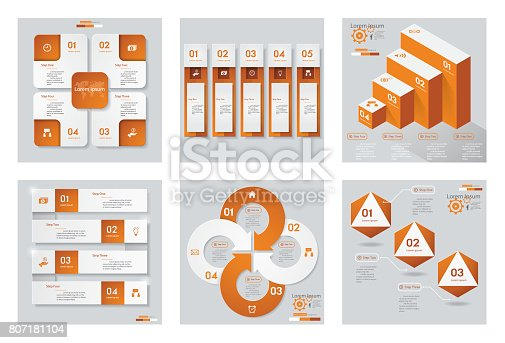 istock collection of 6 orange color Infographic design vector and business icons. 807181104