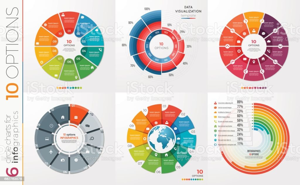 Collection of 6 vector circle chart templates 10 options. vector art illustration