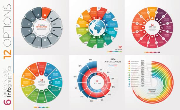 collection of 6 vector circle chart templates 12 options. - pie chart stock illustrations, clip art, cartoons, & icons