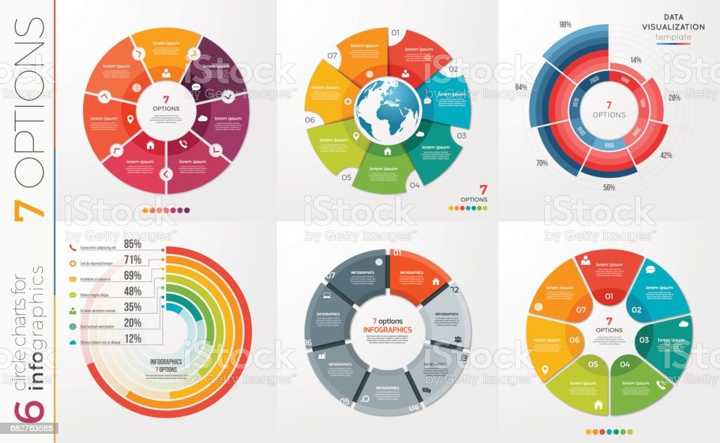 Collection of 6 vector circle chart templates 7 options. royalty-free collection of 6 vector circle chart templates 7 options stock illustration - download image now